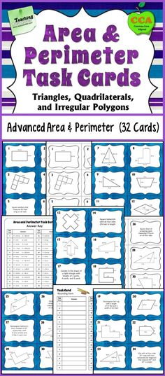 Area and Perimeter Task Cards for advanced area and perimeter skills  including quadrilaterals, triangles, and irregular polygons. Word problems included, too! Perfect for advanced 5th grade or for 6th grade! $