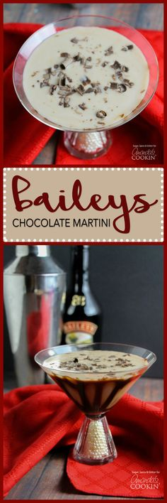 This decadent Baileys Chocolate Martini is smothered with chocolate flavor. The … This decadent Baileys Chocolate Martini is smothered with chocolate flavor. The deliciously smooth flavor will have chocolate lovers going crazy! Dessert Drinks, Bar Drinks, Cocktail Drinks, Yummy Drinks, Cocktail Parties, Craft Cocktails, Desserts, Beach Cocktails, Refreshing Cocktails