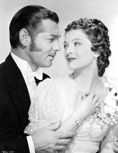 """Clark Gable and Myrna Loy photographed for """"Parnell"""" 1937"""