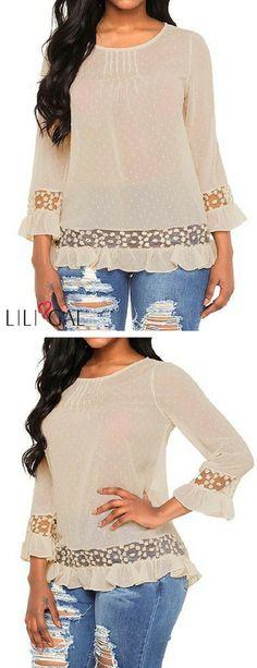Mesh Panel Ruffle Hem Dot Design Apricot Blouse   #liligal #blouse #shirts #top #womenswear #womensfashion
