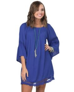 Flying Tomato Women's Royal Blue with Crochet Off The Shoulder Dress