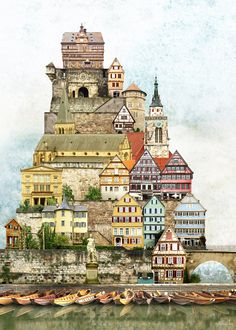 Tübingen (Surreal town collage) by Matthias Jung, 2010 Photomontage, City Collage, Collage Art Mixed Media, Arte Popular, Digital Collage, Architecture, New Art, Photo Art, Concept Art