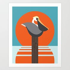 Pelican Art Print by Steph Dillon - 8x9, $15.00. Pelican!  Almost, but not quite...