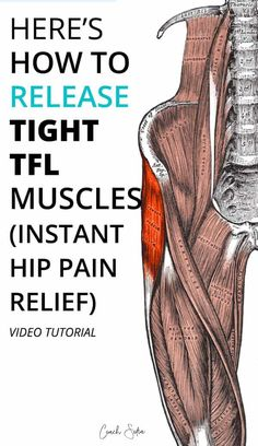 Effective TFL Muscle Release Technique Here's a step-by-step QUICK video to show you how to release the TFL muscle so you can get relief from hip pain, and piriformis syndrome. (TFL tightness can easily be mistaken by piriformis tightness) Hip Bursitis Exercises, Bursitis Hip, Back Exercises, Hip Stretching Exercises, Hip Strengthening Exercises, Hip Flexor Pain, Scoliosis Exercises, Tight Hip Flexors, Strengthen Hip Flexors