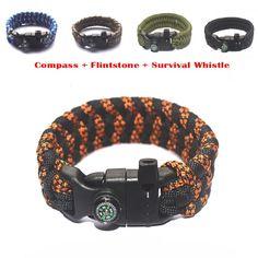HOT EDC Outdoor Paracord Parachute Survival Bracelet Rope With Whistle + Compass + Flintstone Useful Gadgets Multi-Color