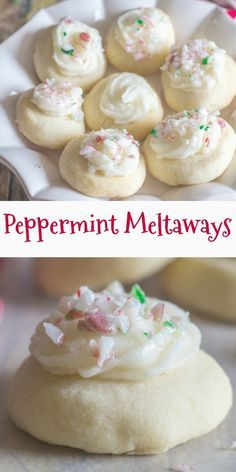 These Peppermint Melting Moments are a perfect addition to your Christmas Cookie. - These Peppermint Melting Moments are a perfect addition to your Christmas Cookie Baking List. Köstliche Desserts, Holiday Desserts, Holiday Baking, Dessert Recipes, Holiday Foods, Christmas Snacks, Christmas Cooking, Christmas Candy, Christmas Goodies