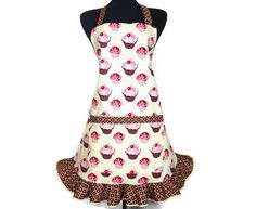 Cupcake Apron for Women  Butter Cream with Chocolate by ElsiesFlat (Home & Living, Kitchen & Dining, Linens, Aprons, cupcakes, cupcake apron, full apron, retro apron, retro style apron, kitchen apron, apron with ruffle, frilly, cooking apron, vanilla and cherry, bakery decor, ruffled apron, chocolate apron)