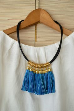 Gold statement necklace Tassel necklace Fringe necklace Blue tribal necklace Gold fringe jewelry Boho chic necklace Christmas gift for her by PearlAndShineJewelry on Etsy