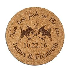 Wedding Favors Coasters Personalized Round Cork Drink Coasters Custom Two less fish in the sea Kissing Fish by Factory21 on Etsy