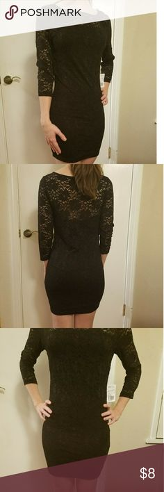 Forever 21 lace black dress Body con dress, includes black slip. New with tags Forever 21 Dresses Mini