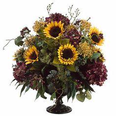 "floral arrangements with sunflowers | ... "" Sunflower, Hydrangea & Berry Silk Flower Arrangement -Burgundy/Gold"
