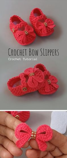 crochet bow pattern Meet your new favorite slippers for your babies with cute bow. Look at these slippers, arent they cute? You can change colors of course and on the place of bow y Crochet Baby Clothes, Crochet Baby Shoes, Newborn Crochet, Crochet Slippers, Booties Crochet, Crochet Simple, Cute Crochet, Crochet For Kids, Knit Crochet