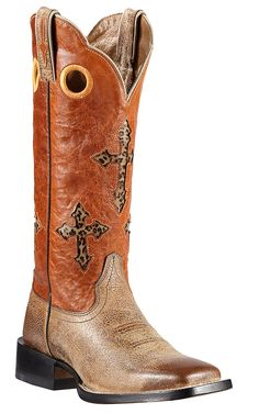 Ariat Ranchero Women's Tumbled Tawny Brown with Sunset Orange Cross Inlay Top Double Welt Square Toe Cowboy Boots