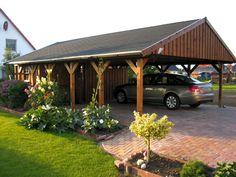 Wooden carport SKANWOLZ Sauerland double carport with roof battens Saddle roof Carport Sheds, Carport Plans, Carport Garage, Double Carport, Garage Double, Garages, Wooden Carports, Carport With Storage, Gardens