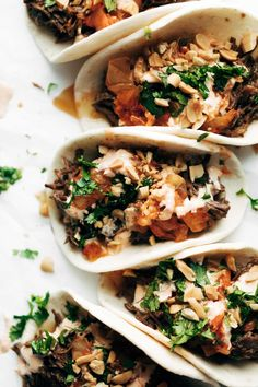 Instant Pot Korean Beef Tacos with garlic ginger beef, kimchi, cilantro, peanuts, all tucked into a flour tortilla. Instructions for slow cooker / stovetop. Asian Recipes, Beef Recipes, Healthy Recipes, Panini Recipes, Delicious Recipes, Tasty, Instant Pot Pressure Cooker, Pressure Cooker Recipes, Pressure Cooking
