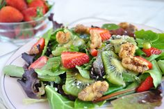 Strawberry and Mixed Green Salad with Spiced Walnuts.. Too Hot In the Kitchen: 200 Simple and Sassy Recipes | Review + Giveaway @ The Mystic Kitchen #Valentinesday
