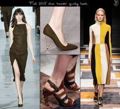 Fall 2015 shoe trends / Quirky heels.  Business in the front, party in the back: with the plethora of quirky heels revealed on the fall 2015 runways, one can totally grow accustomed to these creative statements that double as surprise factors. From unusual sculptural shapes to minimalist blocks, everything goes as long as it's unexpected: