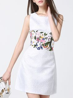 SheIn offers White Crew Neck Embroidered Jacquard Dress & more to fit your fashionable needs. Embroidery On Clothes, Embroidered Clothes, Embroidery Fashion, Embroidery Dress, Dress Skirt, Bodycon Dress, Fashion For Petite Women, Jacquard Dress, Bold Fashion
