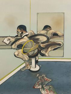 Francis Bacon,Figure writing reflected in a mirror, 1976