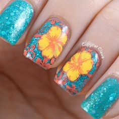 turquoise orange and yellow tropical flower nails