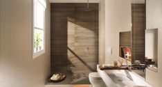 Amenajari Gresie si Faianta FILTRE SELECTATE Lemn Baie Brown Bathroom, Modern Bathroom, Small Bathroom, Fancy Bathrooms, Neutral Bathroom, Modern Shower, Shower Tile Designs, Tapis Design, Bad Inspiration
