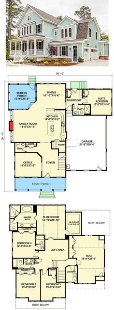 Don't like floor plan but love this color house Layouts Casa, House Layouts, Sims 4 Houses Layout, Dream House Plans, My Dream Home, Dream Homes, Beach House Floor Plans, Sims House Plans, Farmhouse Plans