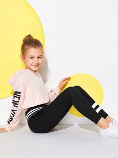Product name: Girls Contrast Waistband Leggings at SHEIN, Category: Girls Pants & Leggings Toddler Leggings, Girls In Leggings, Girls Pants, Leggings Are Not Pants, Leggings Store, Cheap Leggings, Printed Leggings, Cute Girl Outfits, Kids Outfits Girls