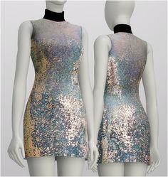 Rusty Nail: Seuquined silk turtleneck dress • Sims 4 Downloads