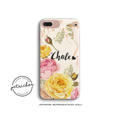 Floral Bird Personalize Phone Case - iPhone 7 Case - iPhone 7 Plus Case - iPhone 6 Case - iPhone 8 Case - iPhone X Case - iPhone 8 Plus Case by PetrichorCases on Etsy Iphone 8 Plus, Iphone 7, Personalized Phone Cases, Design Case, Etsy