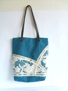 Linen and lace tote Romantic tote bag with leather by allbyFEDI, $34.00