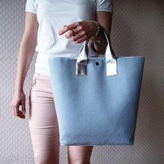 Shopper Bag Pastelowa Torba XL Skóra Metalik. $53