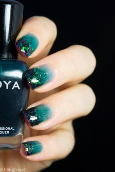 TEAL JELLY GRADIENT WITH GLITTER TIPS. http://www.blingfinger.net/2014/09/teal-jelly-gradient-with-glitter-tips.html