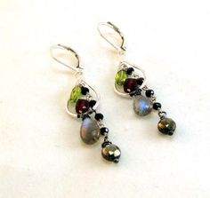 Gemstone Earrings Labradorite Earrings Peridot by belledesigns, $69.00