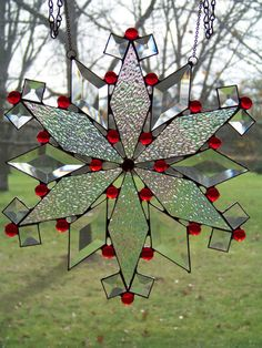 Red Snowflake  Holiday Stained Glass by GlitzAndGrandeur on Etsy, $72.00