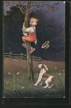 Künstler-AK E.Colombo: Junge hängt schreiend am Baum, Hund sitzt unten 0