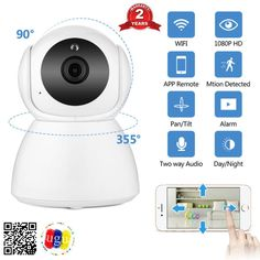 WIFI Security IP Camera 1080P 2MP Wireless Network CCTV Camera Surveillance P2P Day Night Home Baby Monitor Two Way Audio Cctv Security Systems, Camera Surveillance, Wireless Network, Wifi Antenna, App Remote, Baby Monitor, Ip Camera, Audio, Night
