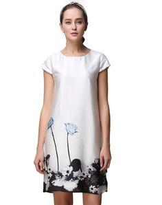 #AdoreWe #VIPme Shift Dresses - SAINTY White Simple Floral Short Sleeve Shift Mini Dress - AdoreWe.com