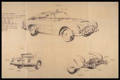 Ken Adam's sketch for the gadget-laden Aston Martin DB5. GOLDFINGER ©1964 Danjaq, LLC and United Artists Corporation. All rights reserved..