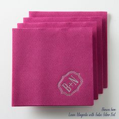 Bracket Linen Like Napkins (Set of 50) - Custom Cocktail Napkins Party Napkins Reception Napkins Foil Stamped Napkins 016-1 #Pink #Wedding #PinkWedding #Paper