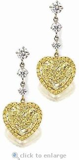 Ziamond Cubic Zirconia 5.5 Carat Canary Heart Shaped Drop Earrings.  The Diorro Drops feature approximately 16 carats in total carat weight. #ziamond #cubiczirconia #earrings #drops #heart