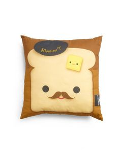 YEAH TOAST! Pillow. Fare and Square Pillow in French Toast