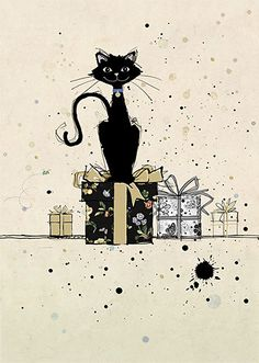 Cat on Gifts - by Jane Crowther for Bug Art greeting cards.