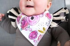Cute floral designs for girl Designs four different and adorable floral designs. Absorbent cotton drool bib These stylish drool bibs are made of 100% absorbent
