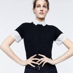 J.Crew women's Collection cashmere short-sleeve T-shirt, Thomas Mason® for J.Crew embroidered oxford shirt in white, full-length linen pant, Catbird™ 14k gold hoop dream earrings and perforated leather belt.