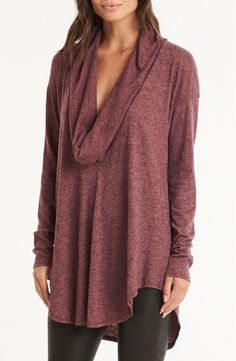 An oversized cowl neck and extra-long curved hem lend this lightweight tunic a beautifully draped silhouette that's perfect for layering.