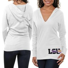 LSU Tigers Women's Hooded Long Sleeve T-Shirt - White