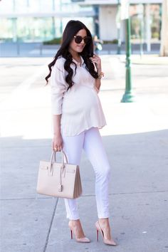 White #blouse, nude handbag, heels, white jeans. Street spring #women fashion outfit #clothing style apparel @roressclothes closet ideas