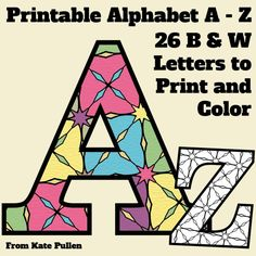 Alphabet activities. FREE Black lime set of uppercase alphabet letters to color. Each child could do their initial. :-)