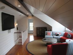 Attic Design: British Invasion tv room.