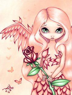 Jasmine Becket Griffith Art Print Signed Pale Rose Fairy Angel Pink Faery Fairie | eBay